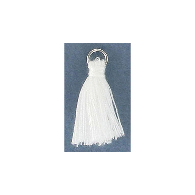 Cotton tassel, 25-30mm, with rhodium plated jumpring, white