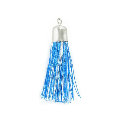 Tassel, 32mm, blue and white mix