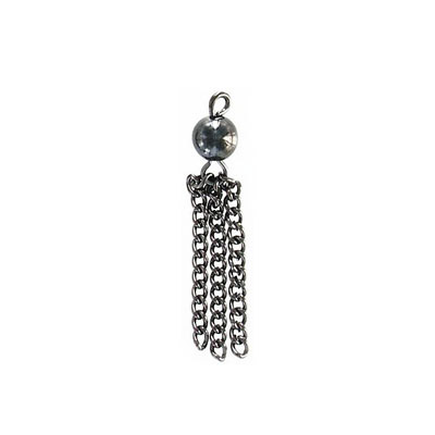 Tassel, 35mm, with 6mm bead, steel, black nickel finish