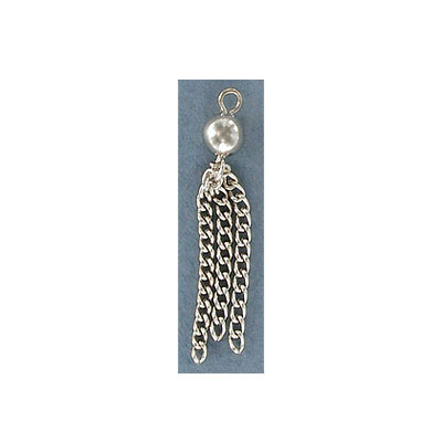 Tassel, 35mm, with 6mm bead, steel, rhodium imitation