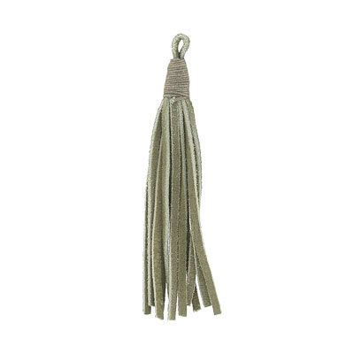 Tassel, 5 inch, leather, olive