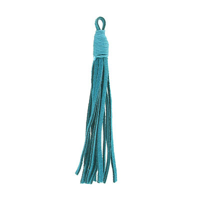 Tassel, 5 inch, leather, teal