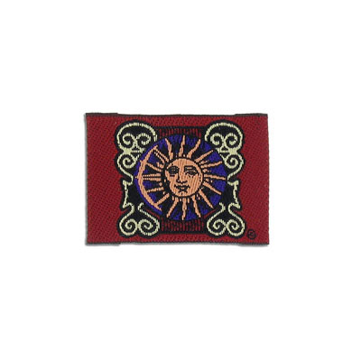 Embroidery appliques, label, smiling sun, 42x30mm
