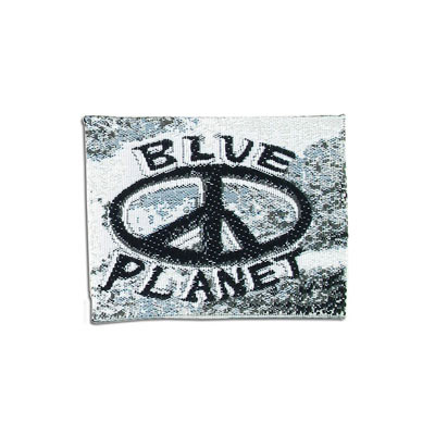 Embroidery appliques, label, blue planet, peace sign, 50x40mm
