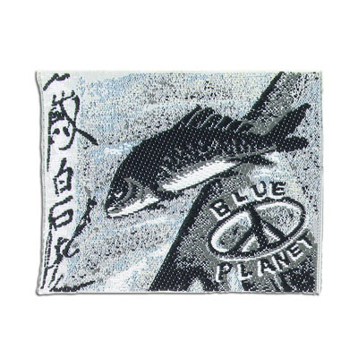 Embroidery appliques, label, blue planet, fish, 68x54mm