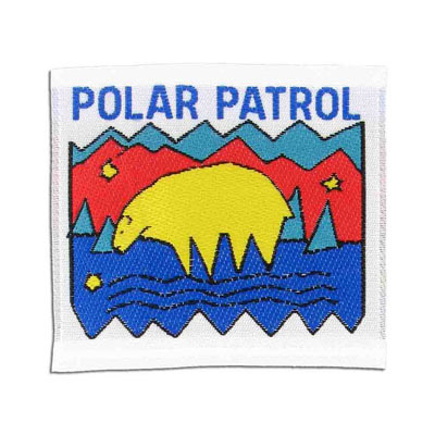 Embroidery appliques, label, polar patrol, 65x60mm