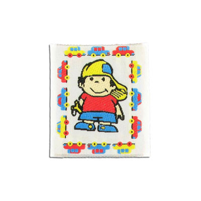 Embroidery appliques, label, little boy, 42x48mm