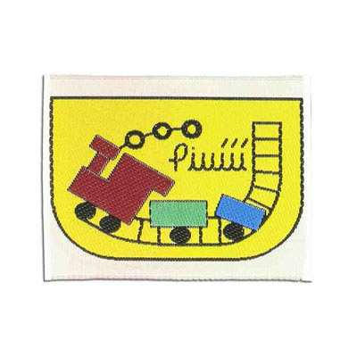 Embroidery appliques, label, train, 63x49mm