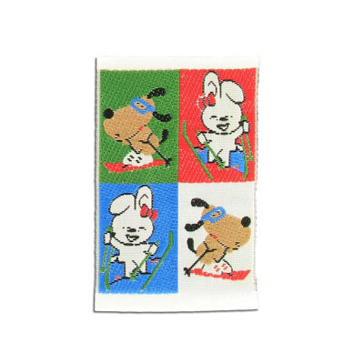 Embroidery appliques, label, ski animals, 38x60mm