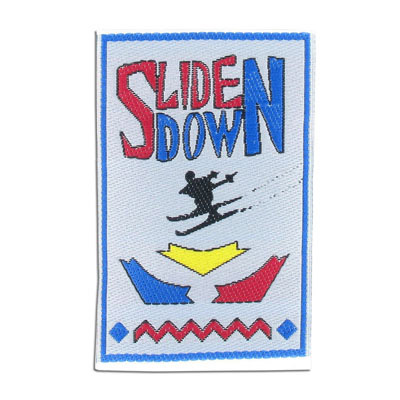 Embroidery appliques, label, slide down ski, 50x77mm