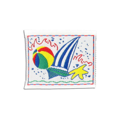 Embroidery appliques, label, beach ball and boat, primary colors, 50x40mm