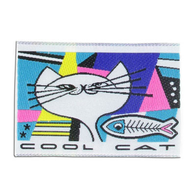 Embroidery appliques, label, cool cat, 73x50mm
