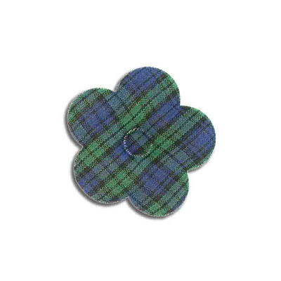 Iron-on label, puff flower, blue, green, tartan, 40mm