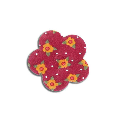Iron-on label, puff flower, floral design, 40mm