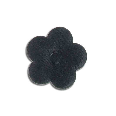 Iron-on label, puff flower, black, 40mm