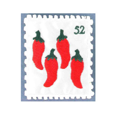 Iron-on label, stamp chili pepper, 50x62mm