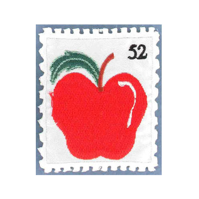 Iron-on label, stamp apple, 50x62mm