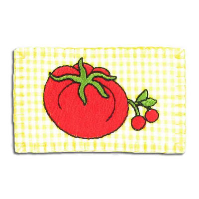 Iron-on label, tomato, 75x45mm