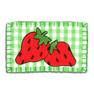 Iron-on label, strawberry, 75x45mm