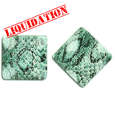 Plastic cabochon, faceted, 18mm, square, green snakeskin