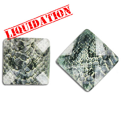 Plastic cabochon, faceted, 18mm, square, grey snakeskin