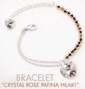 Crystal Rose Patina Heart Bracelet