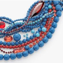 Crystal Lapis Pearl combined with Crystal Turquoise and Crystal Red Coral Pearls create the feeling of traditional Northern American jewelry